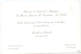Aankondiging Verloving Mireille Drossaert X Patrick Meyntjens - Brasschaat - Neerpelt 1990 - Fiançailles
