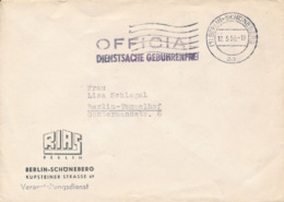 BERLIN-SCHÖNEBERG - 1950 , OFFICIAL DIENSTSACHE GEBÜHRENFREI , Umschlag Des RIAS Berlin - Berlin (West)