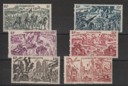 Guadeloupe 1946 Série Tchad Au Rhin PA 7 à 12 , 6 Val ** MNH - Luftpost