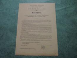 COMMUNE DE PARIS - Manifeste Du Comité Central De L'Union Des Femmes (6 Mai 1871) - Documents Historiques
