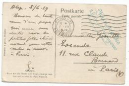 ALEP SYRIE SYRIA CARTE GRIFFE MINISTERE DES AFFAIRES ETRANGERES MECANIQUE PARIS 7.VII.1919 VALISE DIPLOMATIQUE - Postmark Collection (Covers)