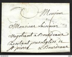 Charente Infre-Lettre Avec Marque ROCHEFORT-Pour Bordeaux - 1701-1800: Precursores XVIII