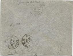 FLIER DATEUR SEUL EN TRANSIT AU DOS LYON GARE AVION 5 III 1940 LETTRE N°392+373 POUR TONKIN - Postmark Collection (Covers)