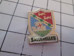 319 Pin's Pins : BEAU ET RARE : Thème VILLES / SALLENELLES CALVADOS NORMANDIE BLASON ECUSSON ARMOIRIES - Città