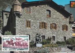Timbre S/ C.P.M. ANDORRE. 0.50 Rouge / Vert Non Oblitéré . Charlemagne Traversant L'Andorre . Casa De La Vall - Cartas