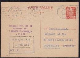 France, Rhone - Entier 885CP1, Càd Lyon Gare De 1955 - Postmark Collection (Covers)
