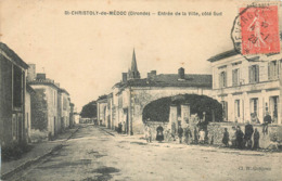 CPA 33 Gironde St Saint Christoly De Médoc Entrée De La Ville Côté Sud Cycliste Enfants - Autres Communes
