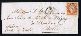 France Lettre  Yv 5 1850 Paris A Suisse Rolle PD In Rouge - Marcofilie (Brieven)