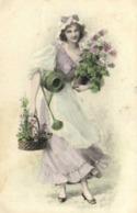 Illustrateur Poesie Des Fleurs Jeune Femme Bonnet Robe Fleurs RV - Femmes