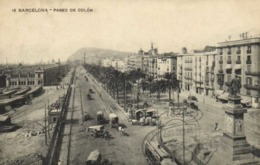 BARCELONA  Paseo De Colon Attelages Tram  RV Beau Timbre - Barcelona