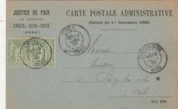 Yvert 102 X 2 Paire Sage Sur RARE Carte Postale Administrative Justice De Paix CREIL Oise 19/1/1901 - Amnistie - 1877-1920: Période Semi Moderne