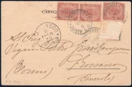 SAN MARINO - CARTOLINA CON 3 FRANCOBOLLI DA C. 2 - CATALOGO SASSONE NUMERO 26 - SPEDITA A FROSSASCO (TO) 9.3.1902 - Saint-Marin