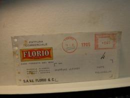 TORINO   ---- ANNULLO ROSSO  ---     FLORIO      --   L.  40 - Affrancature Meccaniche Rosse (EMA)