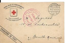 Guerre 14 18 BRUXELLES Belgique Carte CROIX ROUGE Agence Belge De Renseignements Renseignement Sur Prisonnier .........G - WW I