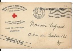 Guerre 14 18 BRUXELLES Belgique Carte CROIX ROUGE Agence Belge De Renseignements Envoi De Colis .........G - WW I