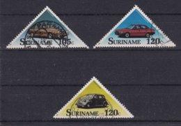 Surinam 1989, Cars, Triangle Stamps, Vfu. Cv 5,70 Euro - Suriname