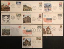 France - FDC - Premier Jour - Lot De 10 FDC - Thématique Lieux Monuments - 1962 - FDC