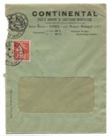 PERFORE C:C:  CONTINENTAL Pneus Sur 10c Semeuse 1908....G - Francia
