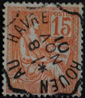 TYPE MOUCHON N°117.AMBULANT ROUEN AU HAVRE 8 NOV 1901.. - 1900-02 Mouchon