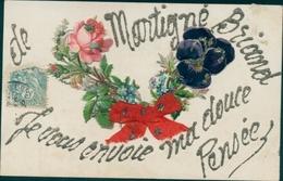 Glitzer Cp Martigné Briand Maine Et Loire, Sitefmütterchen, Blumen - Sonstige Gemeinden