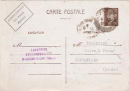 1942 / Entier Pétain 80 C + Comp Taxe Perçu / Rationnement Bons Matières / Tanneries Aveyronnaises / 26 St Rambert - 1939-45