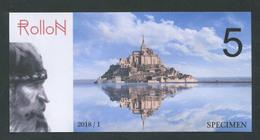 """Billet Fantaisie Normandie - Edition Privé """"Spécimen 5 Rollon / Mont Saint Michel / Pont De Normandie / 2018"""" - Specimen"""