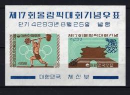 1960 COREA DEL SUR - MICHEL 148 HOJA BLOQUE YVERT 29 MNH** NUEVO SIN FIJASELLO - JJOO JUEGOS OLÍMPICOS ROMA '60 - Corea Del Sur