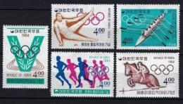 1964 COREA DEL SUR - MICHEL 457/461 - MNH** NUEVOS SIN FIJASELLOS - JJOO JUEGOS OLÍMPICOS TOKIO '64 - Corea Del Sur