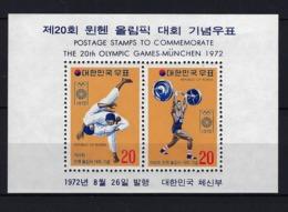 1972 COREA DEL SUR - HOJA BLOQUE YVERT 231 MICHEL 354 MNH** NUEVO SIN FIJASELLOS JJOO JUEGOS OLÍMPICOS MUNICH '72 - Corea Del Sur