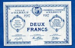 Elbeuf -  2 Francs  1917 -  état  Sup - Bons & Nécessité