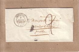 LOIR ET CHER , SARTHE - LETTRE DE VENDÔME POUR ST , SAINT CALAIS  , CAD TYPE 13 + TAXE - 1846 - 1801-1848: Voorlopers XIX