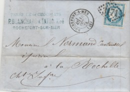 Yvert 60B Cérès Lettre Belle Facture Entête Blanchard Taton Chocolat ROCHEFORT S Mer 10/10/1874 GC 3171 à La Rochelle - Poststempel (Briefe)