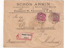 HONGRIE 1921 LETTRE RECOMMANDEE DE BUDAPEST AVEC CACHET ARRIVEE MILANO - Covers & Documents