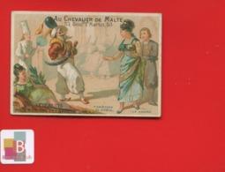 Rare Chromo Calendrier Semestriel 1878 Chevalier Malte  Romanet 7 Châteaux Diable  Casserole Péché Luxure Orientalisme - Chromo