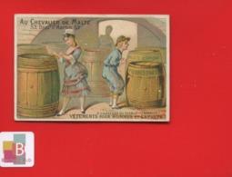 Rare Chromo Calendrier Semestriel 1878 Chevalier Malte  Romanet 7 Châteaux Diable Péché Avarice Cave Tonneaux Argent - Chromo