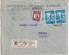 ROUMANIE 1934 LETTRE RECOMMANDEE DE BUCAREST AVEC CAHET ARRIVEE VIGEVANO - Briefe U. Dokumente