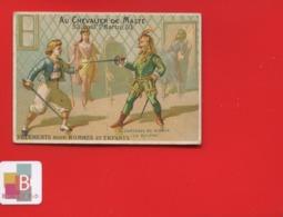 Rare Chromo Calendrier Semestriel 1878 Chevalier Malte  Romanet 7 Châteaux Diable Péché Colère Duel épée - Chromo