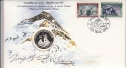 Everest : Original Signed Tenzing & Edmund Hillary 1978 -  Alpinisme. Dans Coffret), Médaille. Certified. - Escalada