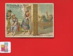 Rare Chromo Calendrier Semestriel 1878 Chevalier Malte  Romanet 7 Châteaux Diable Péché Paresse - Chromo