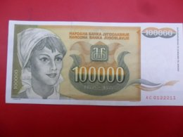Yugoslavia-Jugoslavija 100000 Dinara 1993, P-118a, ARADAR, AC 0122211 - Jugoslavia
