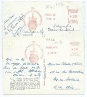 3162 Lot 2 Cartes Postales Paris Flamme Mécanique Sommet De La Tour Eiffel 1963 - 1964 Paris VII - EMA (Printer Machine)