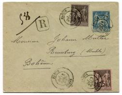RC 14237 FRANCE 1892 SAGE ENTIER RECOMMANDÉE DE BASTIA CORSE POUR LA BOHEME TB - Storia Postale