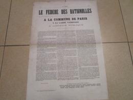 LE FEDERE DES BATIGNOLLES - A La Commune De Paris, à La Garde Nationale, à L'opinion Public - N°1 (25 Avril 1871) - Documents Historiques
