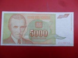 Yugoslavia-Jugoslavija 5000 Dinara 1993, P-128a, ARADAR, AA 1766710 - Jugoslavia
