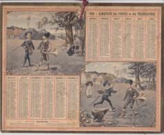 Calendrier 1910  Postes Et Télégraphes / Braves Chassseurs - Enfants, Cor De Chasse, Poule Et Ses Poussins - Groot Formaat: 1901-20