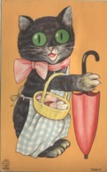 NOVELTY SQUEAKER PC: BLACK CAT, APRON, BASKET & UMBRELLA - Cartoline Con Meccanismi