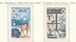 PIA  - FRANCIA  -  1974  : A Profitto Della Croce Rossa -  Le Stagioni : Estate E Inverno  - (Yv  1828-29) - Primo Soccorso