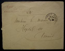 Lourdes 1916 Hôpital Bénévole 136 Bis Assomption, Marque Linéaire Rouge Sur Lettre Pour Amiens - Marcofilie (Brieven)