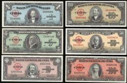 * Cuba 1 5 10 20 50 100 Pesos 1958 - 1960 ! UNC ! Set 6 Notes - Cuba