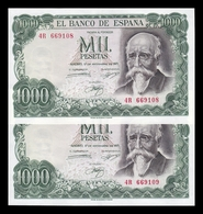 España Pareja 1000 Pesetas José Echegaray 1971 Pick 154 Serie A EBC/+ XF/ - [ 3] 1936-1975: Regime Van Franco
